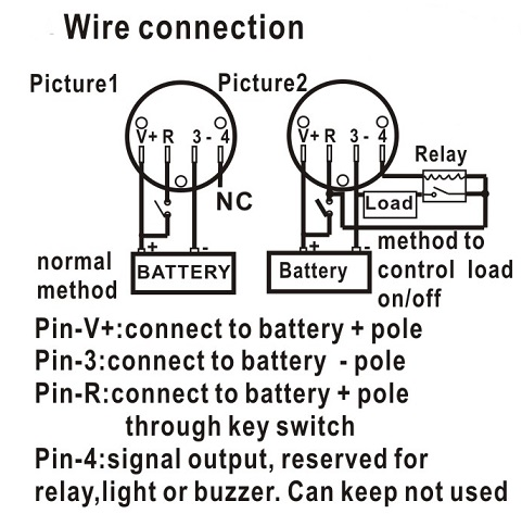 Round battery gauge Dual LED line 10 Bar Digital Battery Discharge Indicator