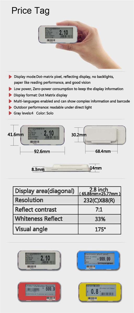Supermarket Epaper Electronic Digital Shelf Price Tag Label