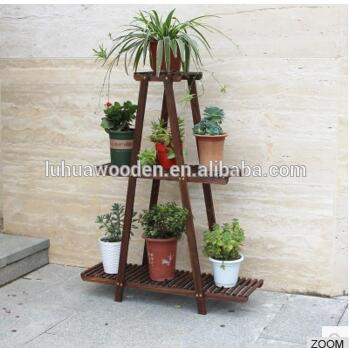 Solid Wood Folding Ladder Flower Stand