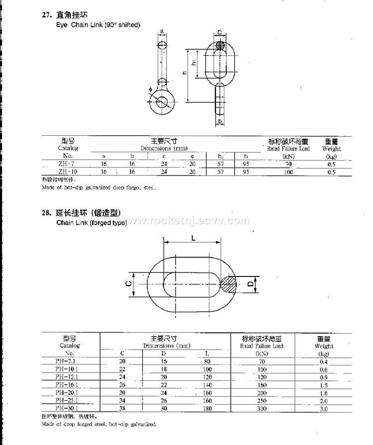eye chain link 90 shifted  u0026chain link forged type