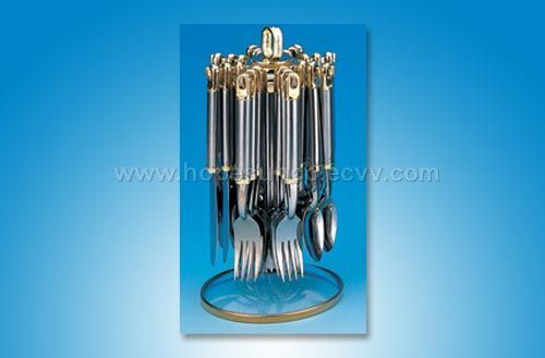 24 pcs stainless steel flatware set in rotating stand hscs005 china - Flatware set with stand ...