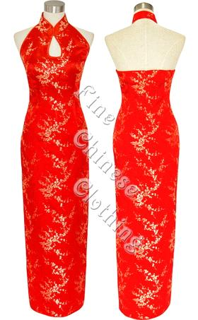Dress on Chinese Ankle Length Cheongsam   Attractive Red Wda 8006  Wda 8006
