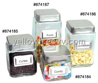 4pcset Square Glass Storage Canister Jars w Stainless Lids and
