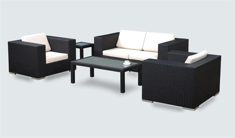 5 Piece Patio Seating Set Black Wicker ZF R1062