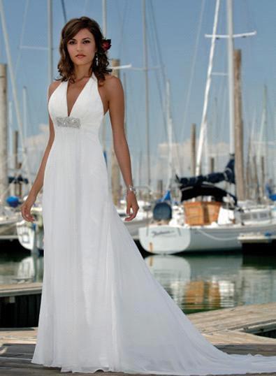 Chiffon halter beach wedding dress for Chiffon wedding dresses for beach wedding