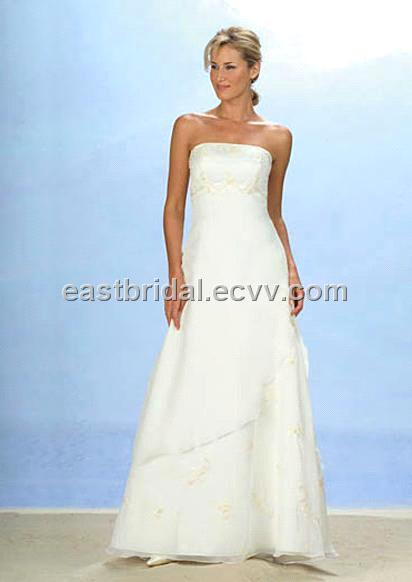 Lovely Outdoor aLine Strapless Sleeveless Satin And Tulle Informal Wedding
