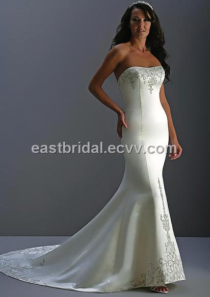 Sexy mermaid strapless sleeveless silk satin simple wedding dress dswd0019