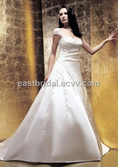 Simple ALine Strapless Cap Sleeves Satin Western Wedding Dress DWWD0016