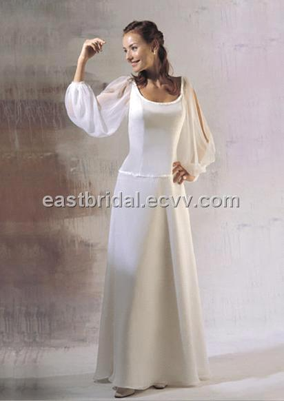 Simple And Beautiful Scoop And Long Sleeves Chiffon Informal Wedding Dress