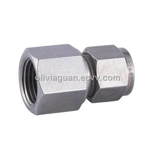 Female connector double ferrule fittings compression