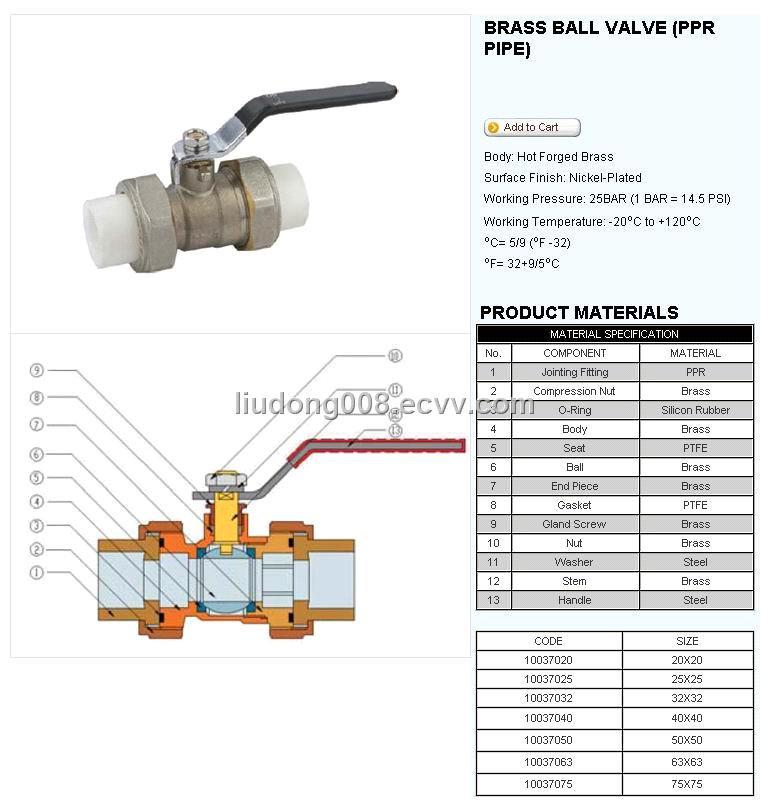 Barss ball valve ppr pipe purchasing souring agent