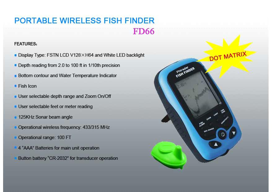 portable wireless fish finder - fd66 (fd66) - china fish finders, Fish Finder