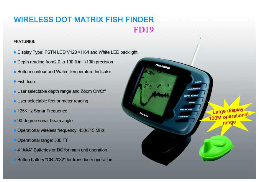wireless dot matrix fish finder (fd19) (fd19) - china phiradar, Fish Finder
