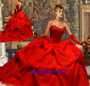 classic red wedding dress