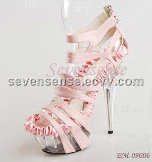 2014 leuconostoc high-heeled platform shoes platform rhinestone thin heels round toe women's single shoes