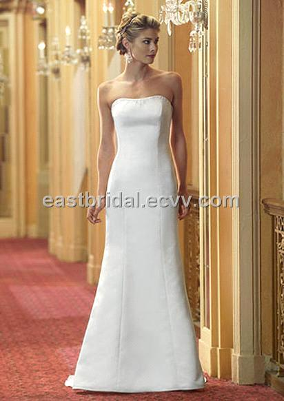 Simple A-Line Strapless Sleeveless Satin And Lace Informal Wedding ...