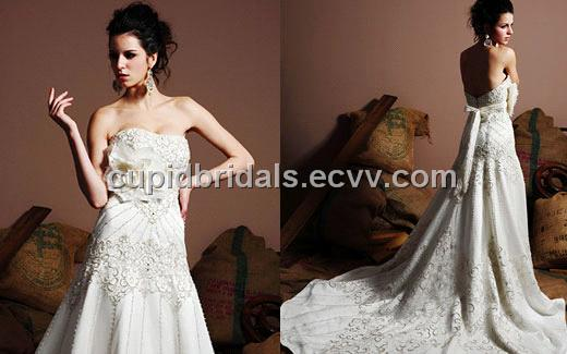 Elaborate Strapless Embroidery Wedding Gown CBW10019