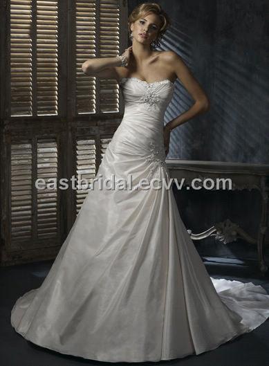Strapless ALine Floor Length Chapel Taffeta Sleeveless Taffeta Wedding