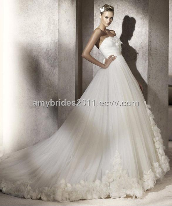 made Aline Strapless Floorlength Tulle Bridal Wedding Gown WD11109