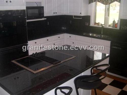 Elegant Black Galaxy Granite Kitchen Countertops