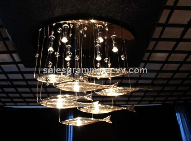 Flying Fish Crystal Pendant Lamp Ceiling Light Engineering