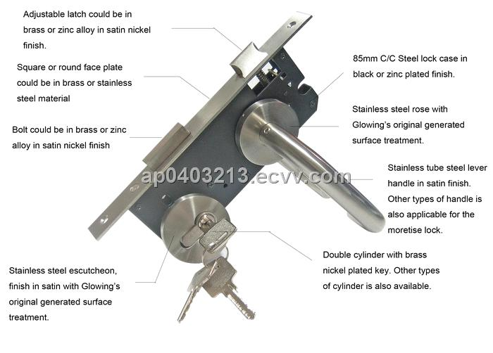 stainless steel door handle with lock