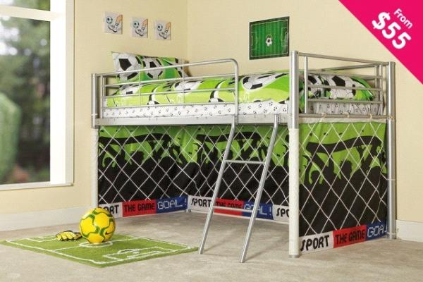 PROMOTIONAL BED* Childrens Novelty Soccer Curtain Mid Sleeper Bed ...