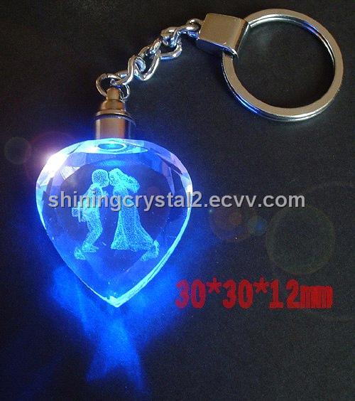 Promotional Led Crystal Keychain Crystal Engraved Gift
