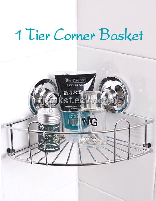 Bathroom Use Corner Shelf With Suction Cup