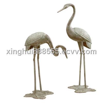 Pair Of Bronze Large Garden Crane Tropical Statues Sculptures Indoor Outdoor Purchasing Souring
