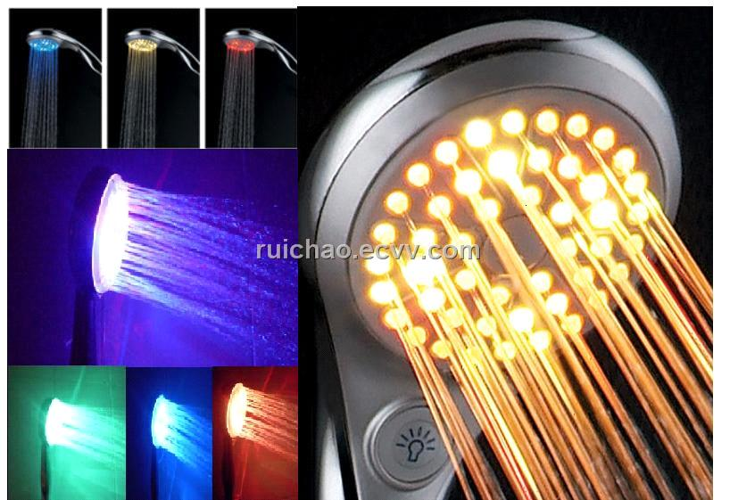 led shower head with 3 or 7 color light