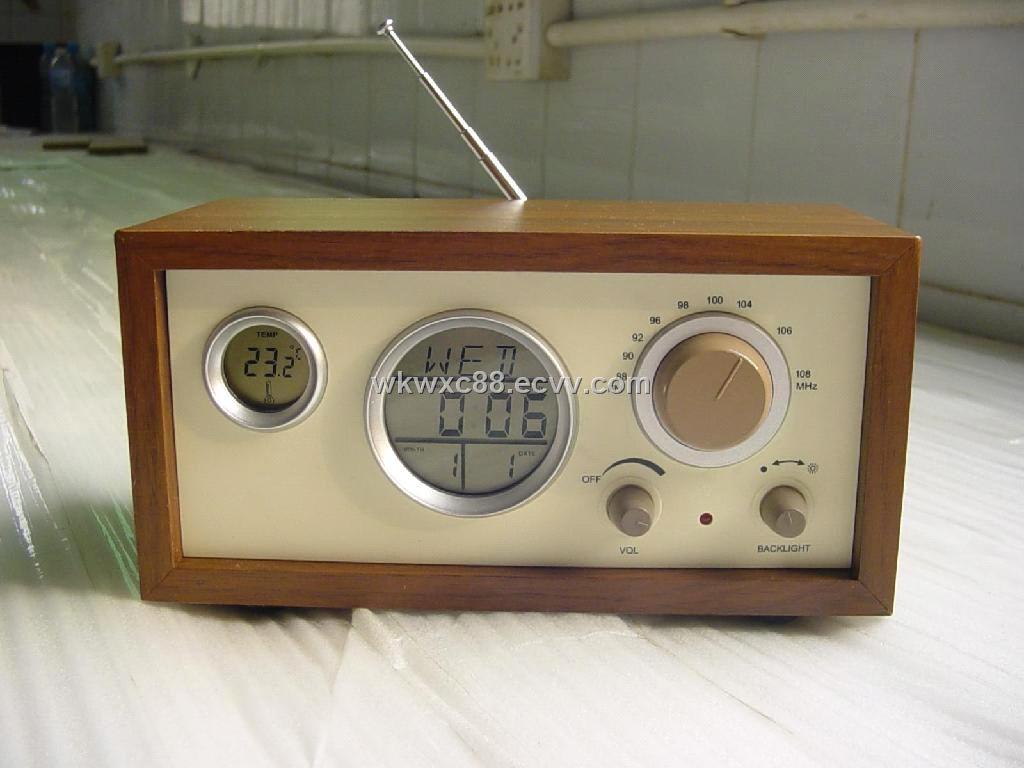 Fm Digital Display Alarm Clock Wooden Radio Purchasing