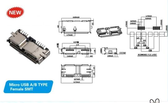 Usb3 0 Connector Micro Ab Female Smt Purchasing Souring