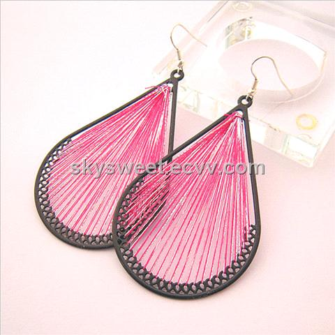 Fashion Drop Pink Silk Thread Earring(SWTER158)