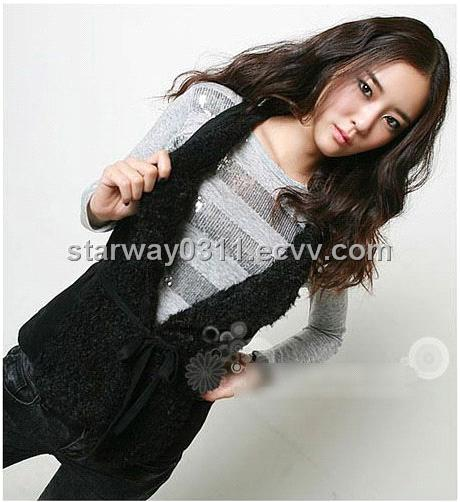 Women's Lambskin Vest Lamb Fur Vest Fur Coats Jacket Europe Orders Z53 Black