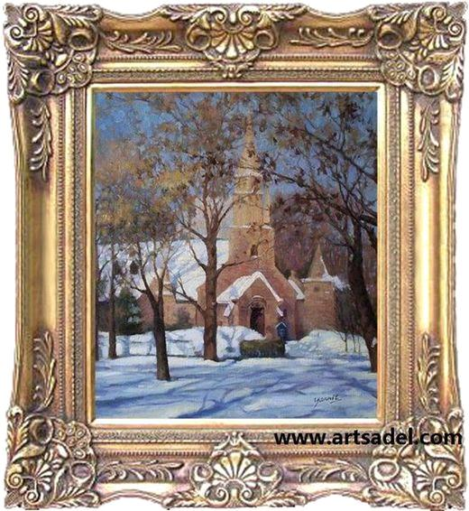 100 handmade classic landscape with frame oil painting on for Framing canvas paintings