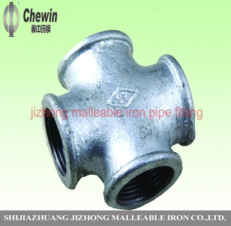 Galvanized malleable iron pipe fitting beaded crossover