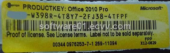 Office 2010 pro plus coa sticker label original key code label purchasing souring agent ecvv - Office professional plus 2010 key ...