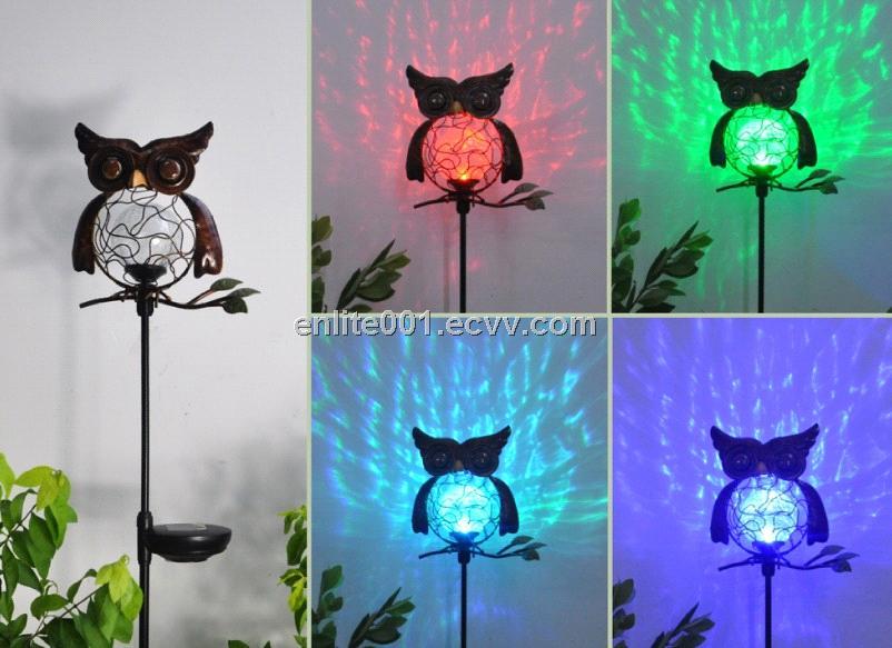 Owl Shape Led Solar Garden Decoration Light Glass Metal