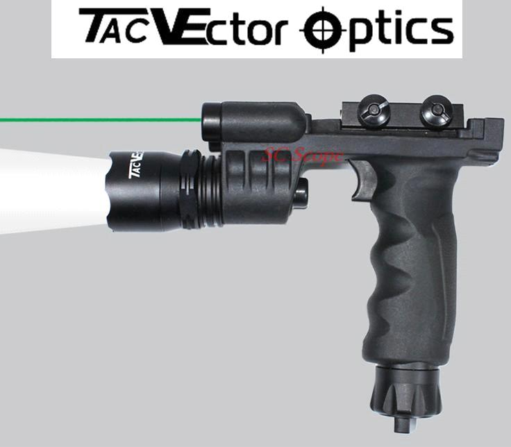 Vertical ForeGrip LED Flashlight Green Laser Combo Sight / 200 Lumens Weapon Light