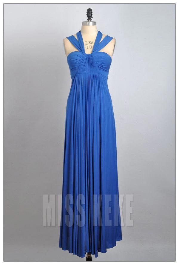 Latest style evening gown halter jersey cotton long prom/party ...