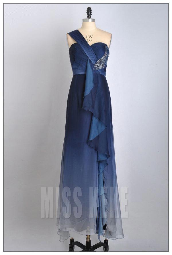 Latest style evening gown one shoulder silk chiffon dress blue ...