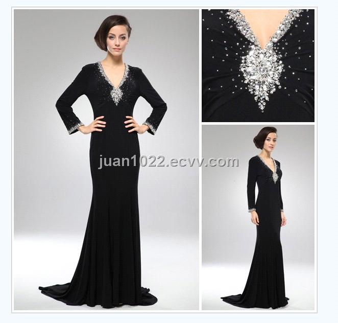 Mature Black Long Sleeve Florr-Length Mother Evening Dress (B1516 ...