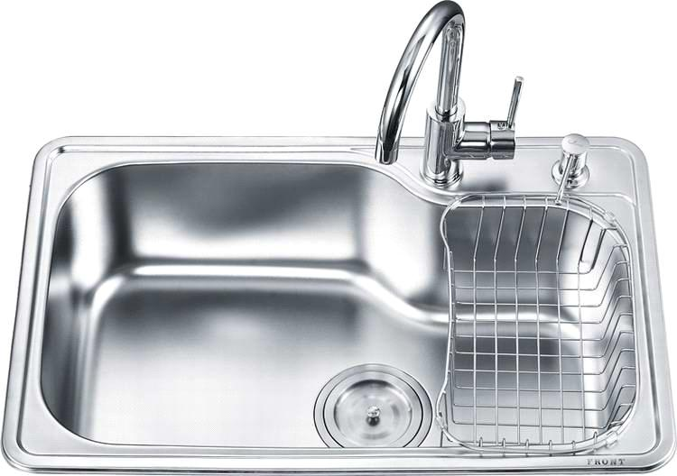 Stainless steel kitchen sink, top mount single basin OA-7246A