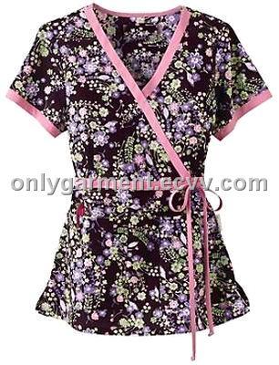 Neck fashion pattern collect waist nurse uniform medical scrubs tops