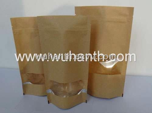 Brown Paper Zip Lock Bag With Window For Coffee Purchasing