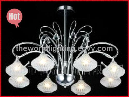 Modern Glass Crystal Chandelier with White Fabric Lampshape