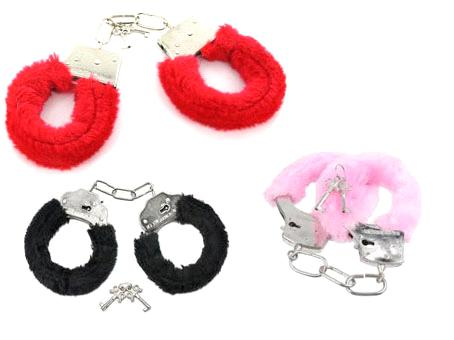 Furry Handcuffs Available in Black, Pink, or Red - Sold by Dozen