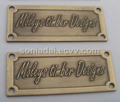 Aluminum Name Plate Embossed Metal Logo Metal Sign