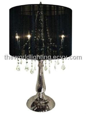 Ctl003 chrome metal stand black fabric cover crystal decoration ctl003 chrome metal stand black fabric cover crystal decoration table lamp aloadofball Gallery